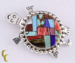 Sterling Silver Alvin Yellowhorse Inlay Turtle Pendant Brooch Lapis, Pea... - $668.24