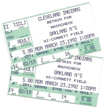 Cleveland Indians vs Oakland A's – Spring 1992 Ticket Stubs – Hi Corbett Field - $4.25