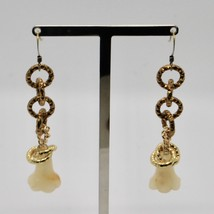 Drop Earrings Aluminum Laminated Yellow Gold with Jade to Campanula image 2