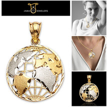 10K Real Yellow White Gold Two Tone Diamond Cut World Globe Map Charm Pe... - $46.17