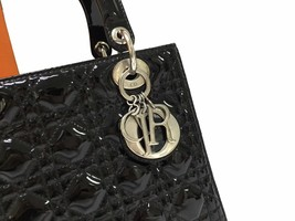 AUTH Christian Dior Lady Dior Medium Black Cannage Patent Leather Tote Bag SHW image 4