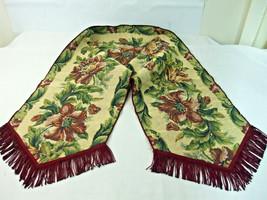Tapestry Flower Design Table Top Runner Green Burgundy Fringe Fall Color... - $19.79