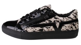 Versace Collection Black Pony Hair Patent Leather Lace Zip-Up Fashion Sneaker NW image 2