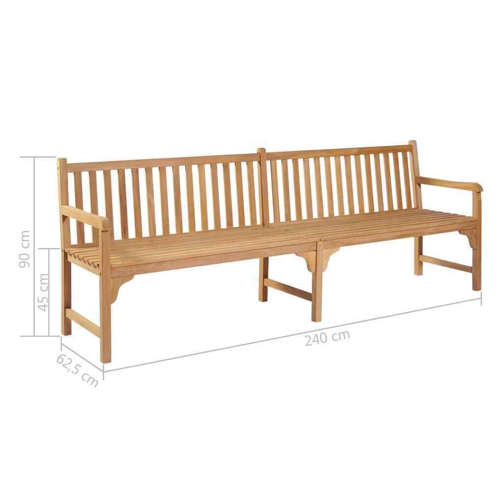 vidaXL Solid Teak Outdoor Bench w/ Finish 3-seater Garden Chair Patio 2 Sizes image 12