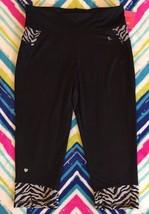 Black Performance Pants Capri Stretch Girls 14 16 New Athletic - $9.99