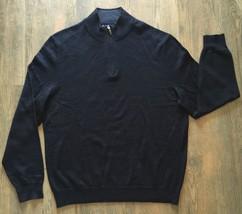 CLUB ROOM Mens Half Zip Black Pullover SWEATER Merino WOOL BLEND Lightwe... - €8,11 EUR