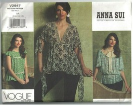 2947 UNCUT Vogue Sewing Pattern Misses Unlined Loose Fitting Blouse Anna... - $14.84
