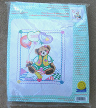 NIP Janlynn Patchwork Bear Cross Stitch Embroidery Baby Quilt Crib Cover... - $45.00