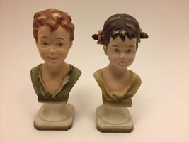 Vintage Lefton Figurine Boy & Girl Bust Set 2 KW 832 Japan Porcelain Bis... - $62.99