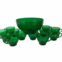 Vintage Anchor Hocking Forest Green Glass Punch Bowl Set 12 Cups Mid Cen... - $46.71