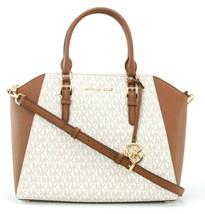 Michael Kors Ciara PVC Satchel Bag Vanilla Monogram and Brown Large Handbag - $362.81
