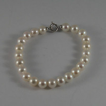 SOLID 18K WHITE GOLD BRACELET WITH FRESHWATER WHITE PEARL MADE IN ITALY  7,48 IN image 1