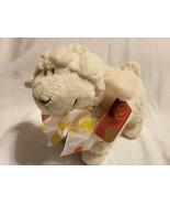 Keel Toys Lamb Sheep Plush Stuffed Animal Ivory Cream Polka Dot Bow - $19.78