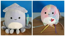 """Squishmallows Stacy The Squid & Janet The Jellyfish 5"""" Sea Life Kellytoy... - $42.50"""