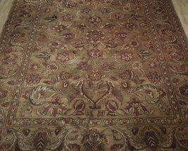 Densely Knotted Genuine Handmade 9 x 13 Brown Jaipur Wool Rug image 9
