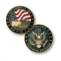 "OEF OPERATION  ENDURING FREEDOM SEPTEMBER 11 2001 NYC DC PA 1.75"" CHALLE... - $18.04"