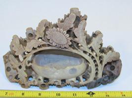Vintage Handmade Hand Carved Soapstone Sunflower and Leaves Over Basket - $37.90