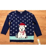 NWT ugly christmas sweater Large PXL Knit BlUE POLAR BEAR/SNOWFLAKES HOL... - £13.64 GBP