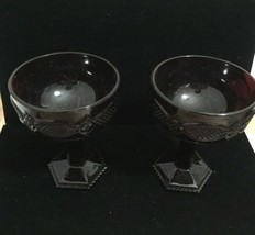 Set of 2 Avon 1876 Cape Cod Ruby Red Glass Champagne Saucers New - $24.95