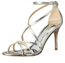 Badgley Mischka Lillian Silver Metallic Leather Women's Evening High Hee... - €89,03 EUR
