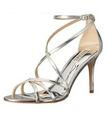 Badgley Mischka Lillian Silver Metallic Leather Women's Evening High Hee... - $96.47