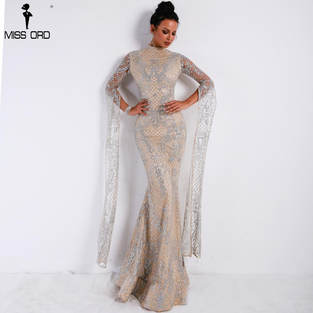 Sord 2018 women sexy high neck long sleeve split glitter dresses female  maxi elegant party dress 5531a1195c5b
