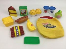 Fisher Price Smart Shopper Bag Fun Shopping Food Toy 12pc Lot Yogurt Cak... - $35.59