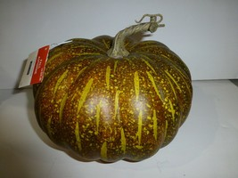 Orange and Green Decorative Real Looking Pumpkin Halloween Fall Decorati... - £17.60 GBP