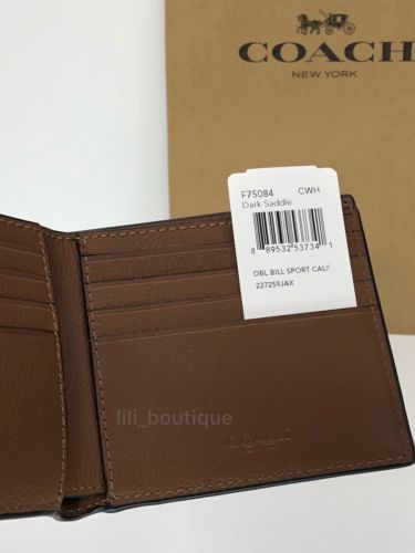88ac628f0b2e NWT New Coach F75084 Men s Billfold Sport Calf Leather Wallet Dark Saddle   150