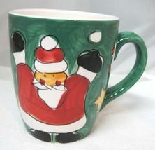 Extra BIG Christmas Santa Hand Painted Coffee Mug Cup By Gibson Candy Ca... - $28.22