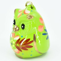 Handcrafted Painted Ceramic Green Owl Confetti Ornament Made in Peru image 2