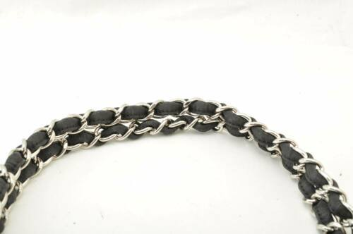 CHANEL Nylon Matelasse Chain Shoulder Bag Black Auth 9576 **Powder image 8