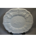 Milk Glass Cookie Sandwich Vegetable Plate Raised Pattern Fruit Design 1... - $9.95
