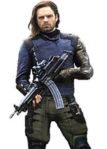 Avengers Infinity War Bucky Barnes Winter Soldier White Wolf Leather Jacket - $79.99