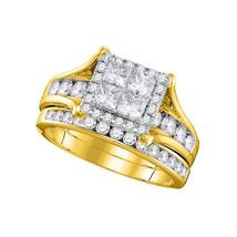 14k Yellow Gold Princess Diamond Bridal Wedding Engagement Ring Set 1-1/2 Ctw - $2,298.00