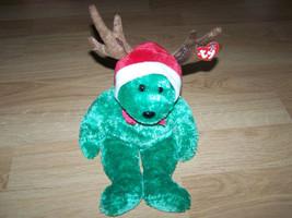 TY Beanie Buddy 2002 Holiday Teddy Plush Reindeer Bear Green w Tags - $18.00