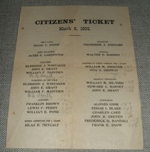 Vintage Political ephemera 1903 by Citizens Ticket with Voting totals Sc... - $24.75