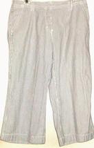 WOMEN'S WHITE/BLUE STRIPE CROPPED PANTS SIZE 10 - $12.00