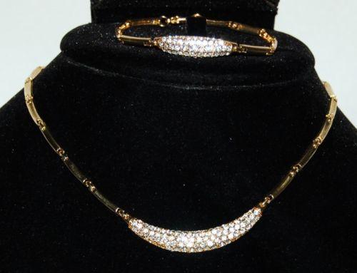 BVT NKBR Necklace Bracelet Set Color Gold Clear Rhinestone