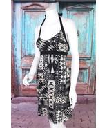 Patagonia XS Black Tan Tribal Boho Print Organic Cotton Halter Dress She... - $23.75