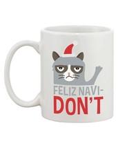 Grumpy Cat Feliz Navidon't Ceramic Coffee Mug - Funny Christmas Mug Cups image 2