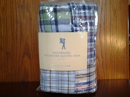 Pottery Barn Kids Snowboarding Patchwork Quilted Sham Standard New - $11.00