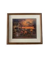 Charles Wysocki Supper Call Framed Matted 18.5 X 17 Fall Sunset Pumpkins... - $98.95
