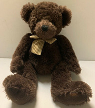 """Russ Berrie Jefferson Brown Bear Plush Gingham Bow 15"""" Hard To Find - $25.34"""