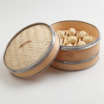 """Woven Bamboo Naturally Steamer Set 10"""" 2 Tiers Banding Vegetable Rice Co... - £35.85 GBP"""