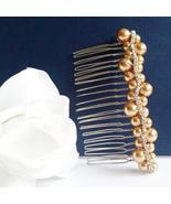 Gold Swarovski Pearl Hair Comb - Rhinestone Bridal Bridesmaid Gift - $29.00+