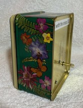 Chrysanthemum flowers butterfly Aluminum Storage Tin Music box Desk Quartz Clock image 7