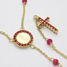 18K YELLOW GOLD ROSARY NECKLACE, FACETED RED RUBY ROOT, CROSS & MIRACULOUS MEDAL image 1