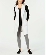 Ideology Women's Sleeveless French Terry Hooded Wrap, Grey Heather, XL - $22.05