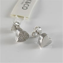 Silver Earrings 925 Jack&co with Heart Love with Zircon Cubic JCE0454 image 3